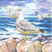 "Салфетка для декупажа ""Морские чайки"" бумажная, 33х33 см, на фото 1/4 салфетки, 13310350"