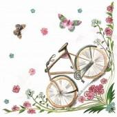 """Салфетка для декупажа """"С велосипедом"""" бумажная, 33х33 см, на фото 1/4 салфетки, SDOG007701"""