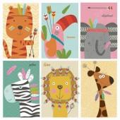 """Салфетка для декупажа """"Африканские зверушки"""" бумажная, 33х33 см, на фото 1/4 салфетки, SDOG022801"""