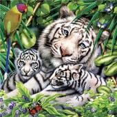 "Салфетка для декупажа ""Белые тигры"" бумажная, 33х33 см, на фото 1/4 салфетки, SLOG034801"