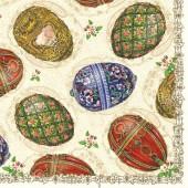 "Салфетка для декупажа ""Яйца Фаберже"" бумажная, 33х33 см, на фото 1/4 салфетки, SLWL004401"
