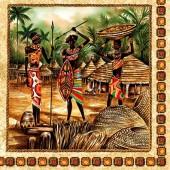 """Салфетка для декупажа """"Африканские воины"""" бумажная, 33х33 см, на фото 1/4 салфетки, SLOG026001"""