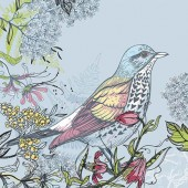 "Салфетка для декупажа ""Голубая птица"" бумажная, 33х33 см, на фото 1/4 салфетки, SLOG032401"
