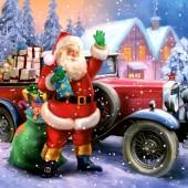 "Салфетка для декупажа ""Санта и автомобиль"" бумажная новогодняя, 33х33 см, на фото 1/4 салфетки, SLGW012901"