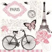 """Салфетка для декупажа """"Велосипед в Париже"""" бумажная, 33х33 см, на фото 1/4 салфетки, SLOG036401"""