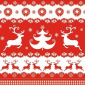 "Салфетка для декупажа ""Бордюры с оленями"" новогодняя, 33х33 см, на фото 1/4 салфетки, SDGW004001"
