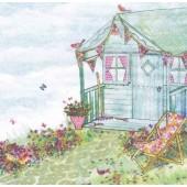 "Салфетка для декупажа ""Летний дом в саду"" бумажная, 33х33 см, на фото 1/4 салфетки, 363412"