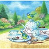 "Салфетка для декупажа ""Птички и летний чай"" бумажная, 33х33 см, на фото 1/4 салфетки, 363420"