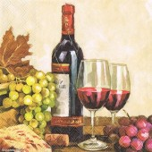 "Салфетка для декупажа ""Вино и виноград"" бумажная, 33х33 см, на фото 1/4 салфетки, 13310235"