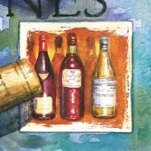 "Салфетка для декупажа ""Старое вино"" бумажная, 33х33 см, на фото 1/4 салфетки,SLOG018601"