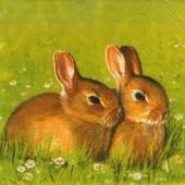 "Салфетка для декупажа ""Два кролика"" бумажная, 33х33 см, на фото 1/4 салфетки, SDL001185"