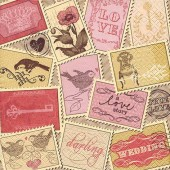 "Салфетка для декупажа ""Романтичные марки"" бумажная, 33х33 см, на фото 1/4 салфетки, арт. 211314"