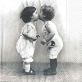 "Салфетка для декупажа ""Винтаж, Поцелуй малышей"" бумажная, 33х33 см, на фото 1/4 салфетки, 2063"