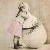 "Салфетка для декупажа ""Винтаж, Пасхальная девочка"", 33х33 см, на фото 1/4 салфетки, арт. 2086"