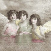 "Салфетка для декупажа ""Винтаж, Три Ангела"" бумажная, 33х33 см, на фото 1/4 салфетки, арт. 80006"