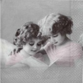 """Салфетка для декупажа """"Винтаж, Розовые Ангелы"""" бумажная, 33х33 см, на фото 1/4 салфетки, 2061"""