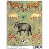 Бумага для декупажа SOFT PAPER TO-DO GW023, 50х70 см, Африканские животные на зелёном