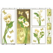 "Декупажная бумага ""металлик"" TO-DO SOFT PRECIOUSE SM238, 50х70 см, Каллы и бабочки с золотом"