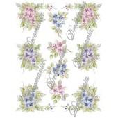 Декупажная карта Decomania 018 bis, 30х42 см, 70 г/м2, Цветочки розовые, синие и фиолетовые