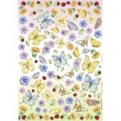 """Декупажная карта Stamperia DFG241 """"Бабочки, цветы и божьи коровки"""", 50х70 см"""