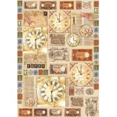 Декупажная карта Stamperia, 50х70 см, 70 г/м2, DFG315, Часы с римскими цифрами