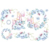 """Бумага рисовая для декупажа Stamperia DFS045 """"Цветочные феи голубые"""", 48х33 см"""