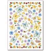 Войлочное полотно с рисунком, 50х70 см, 1 мм, FLSG/ST03 Бабочки, Stamperia
