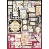 """Декупажная карта Stamperia DFG295 """"Старинные листы и часы"""", 50х70 см, 70 г/м2"""
