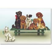 Открытка для создания объёмных композиций 12х20 см, DF3D018A, Stamperia, Щенки на скамейке
