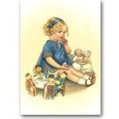 Открытка для создания объёмных композиций 12х20 см, DF3D021A, Stamperia, Девочка с куклами