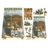 """Бумага рисовая для декупажа Stamperia DFS075 """"Голубой цветочный магазинчик"""", 48х33 см"""