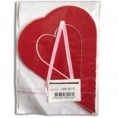 Декоративное паспарту, сердце большое красное, 19,5х14,5 см, арт. 508-0013