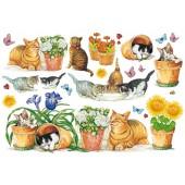 Бумага рисовая для декупажа DFS017, 48х33 см, 20 г/м2, Stamperia, Кошки в саду