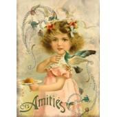 Войлочное полотно с рисунком, 14,8х21 см, 1 мм, FLSS/ST37 Девочка с птицей, Stamperia