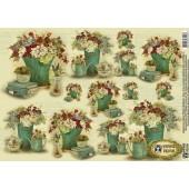 """Декупажная карта E-120 """"Цветы Катрины 3"""", 42х29,7 см, 40 г/м2, Vintage Design"""