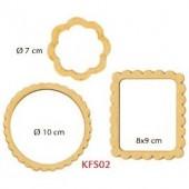 Рамочки декоративные KFS02, 3 шт., d=10 см, d=7 см, 9х8 см, МДФ, Stamperia
