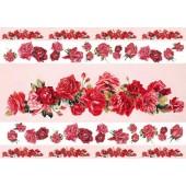"""Декупажная карта """"Бордюр из красных роз"""" Calambour, EXC 262, 35х50 см, 60 г/м2"""