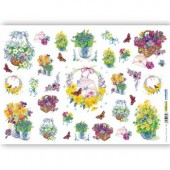 Рисовая бумага для декупажа Renkalik QSIPR188, 35х50 см, Корзины цветов