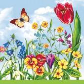 "Салфетка для декупажа ""Весенние цветы"" бумажная, 33х33 см, на фото 1/4 салфетки, SLWI000301"