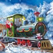 """Салфетка для декупажа """"Рождественский поезд"""" бумажная, 33х33 см, на фото 1/4 салфетки, SLGW006801"""