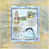 Салфетка для декупажа 13306645 бумажная, трёхслойная, 33х33 см, на фото 1/4 салфетки, Морские воспоминания
