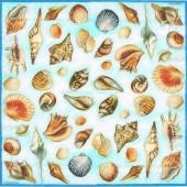 Салфетка для декупажа 13306866 бумажная, трёхслойная, 33х33 см, на фото 1/4 салфетки, Ракушки на голубом
