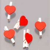 Декоративные Мини-прищепки деревянные с сердечками, 12 шт, 2,5 см, 218001618, Knorr Prandell