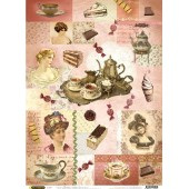 """Рисовая бумага для декупажа Craft Premier CP01562 """"Десерты"""", 28,2х38,4 см"""