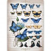 """Рисовая бумага для декупажа Craft Premier CP00559 """"Коллекция бабочек"""", 28,2х38,4 см"""
