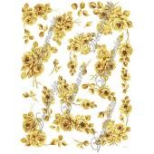 Декупажная карта Decomania 026 bis, 30х42 см, 70 г/м2, Розы жёлто-коричневые