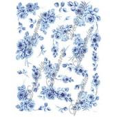 Декупажная карта Decomania 029 bis, 30х42 см, 70 г/м2, Розы голубые