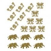 """Переводные изображения универсальные золотые CD-307 """"Слоны и бабочки"""", 17х25 см, Cadence"""