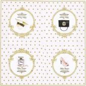 """Салфетка для декупажа """"Горох и модная коллекция"""" бумажная, 33х33 см, на фото целая салфетка, DOF"""