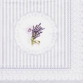"Салфетка для декупажа ""Полоски и лаванда"" бумажная, 33х33 см, на фото 1/4 салфетки, LAV"